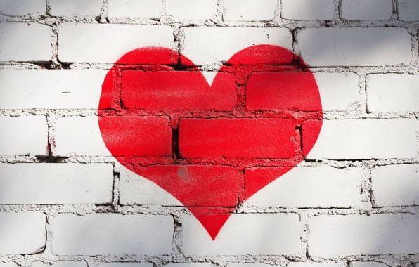 Picture love, red, background, wall, Wallpaper, mood, heart, paint, wallpaper, bricks, heart, widescreen, background, wall, full …