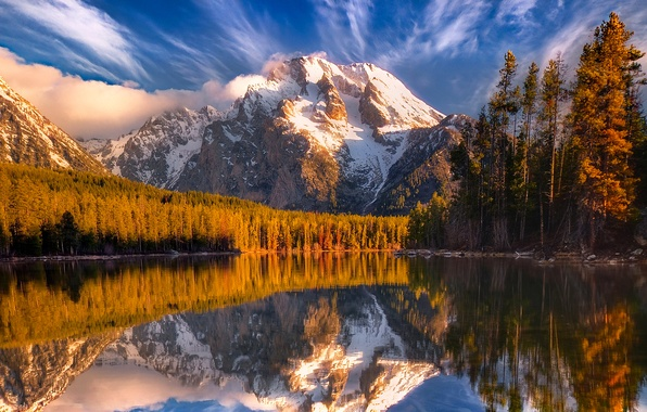 Picture forest, the sky, clouds, snow, trees, sunset, mountains, lake, reflection
