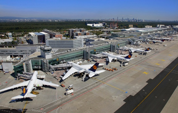 Picture The city, Germany, the platform, Airport, City, Boeing, Germany, Boeing, Malaysia, airplane, 747, A380, 777, …