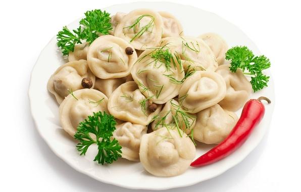 Picture greens, plate, dumplings, red pepper, meat dumplings, allspice, Plate, red pepper