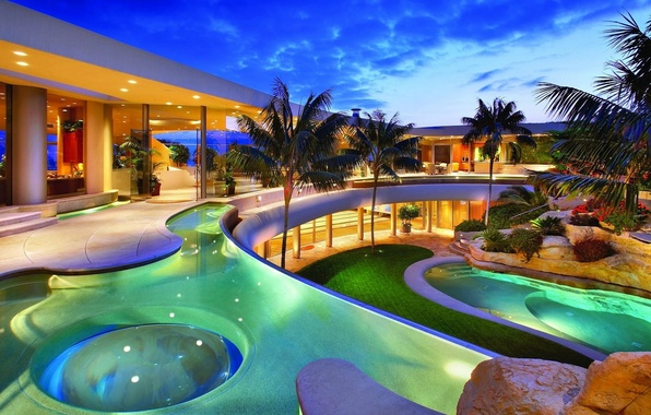 Picture house, palm trees, Villa, pool, stones., pool, villa, exterior, desigen, exterior, hous, hoome
