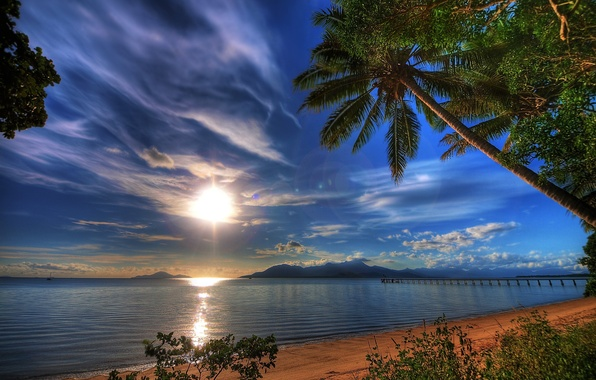 Picture sea, the sky, the sun, clouds, sunset, nature, tropics, reflection, Palma, the evening, pierce