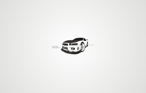 Picture white, style, vector, art, Nissan, gtr