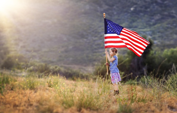 Picture flag, girl, patriotism, American Girl