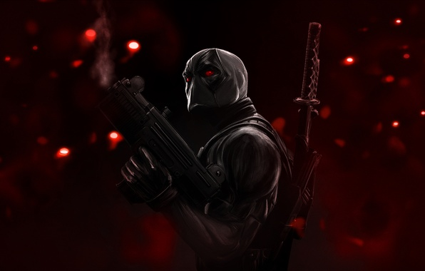 Picture glare, weapons, katana, mask, red eyes, red background, Deadpool