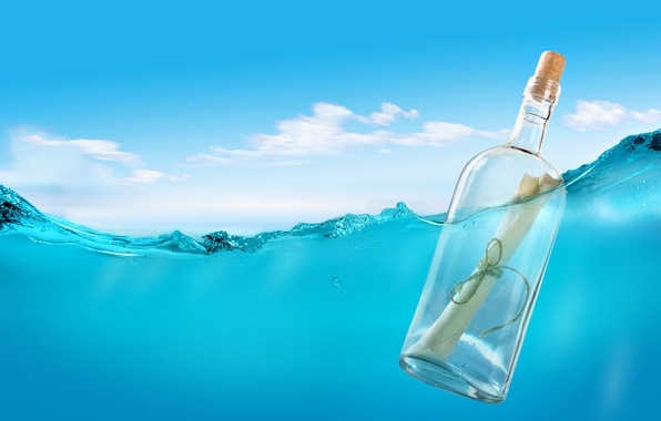 Picture sea, letter, water, bottle, tube, rope, message, message in a bottle