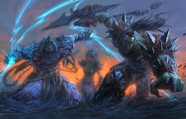 Picture warrior, orcs, wow, Horde, world of warcraft, shaman, Warcraft, horde, orc