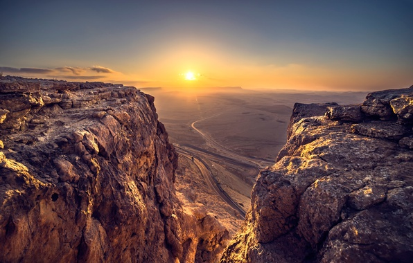 Picture road, the sun, mountains