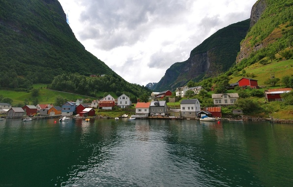 Picture mountains, village, Norway, houses, Norway, the fjord, Undredal