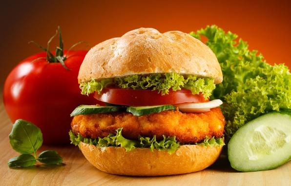 Photo wallpaper sandwich, food, tomato, hamburger, Patty, cucumber, salad