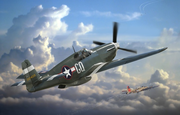 Picture the plane, Mustang, fighter, art, USA, the battle, P-51, action, American, BBC, North American, WW2., …