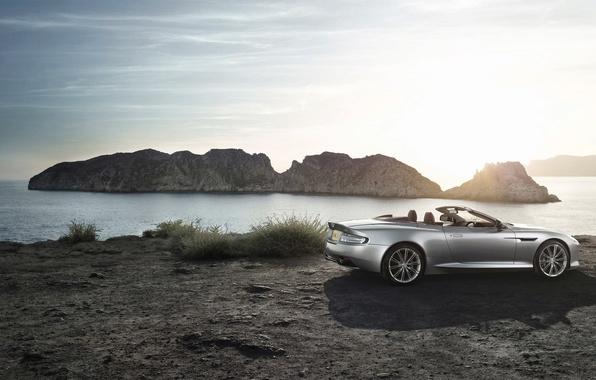 Picture Aston Martin, The sun, The sky, Water, Sea, Auto, Convertible, Grey, DB9, Coupe, Sports car