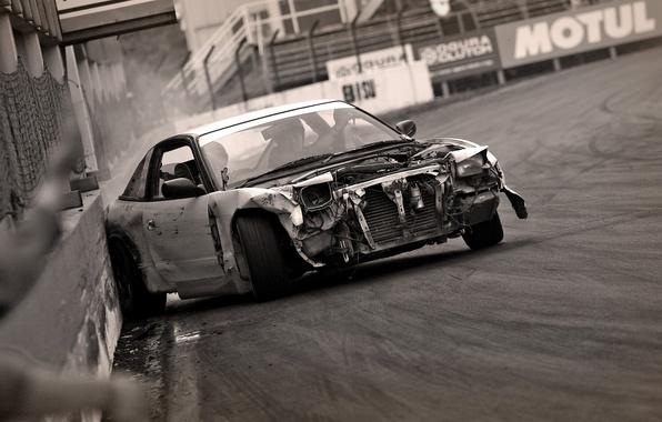 Picture crash, black and white, Nissan, Drift