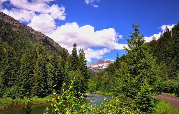 Photo wallpaper road, forest, the sky, mountains, river, USA, glacier national park, montana