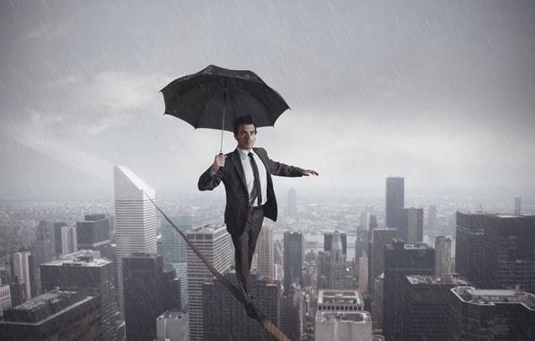 Picture the city, rain, umbrella, rope, abyss, male
