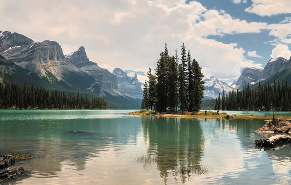 Picture the sky, clouds, trees, lake, rocks, Mountains