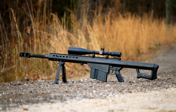 Picture grass, gravel, rifle, sniper, self-loading, heavy, Barrett M82