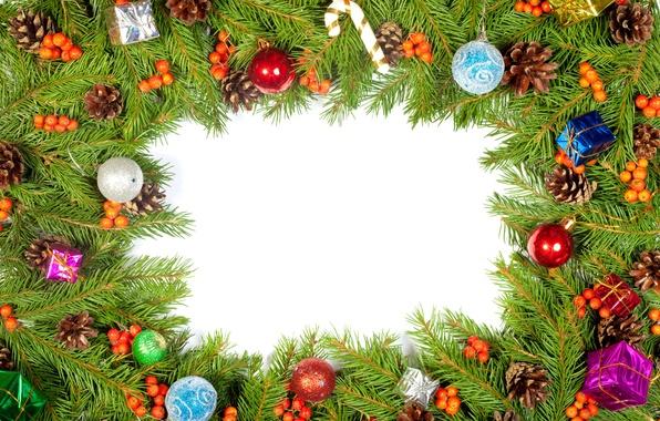 Picture decoration, berries, tree, bumps, Christmas decorations, boxes