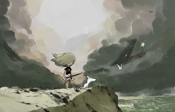 Picture sea, girl, clouds, birds, open, the wind, guitar, dog, art, painted landscape