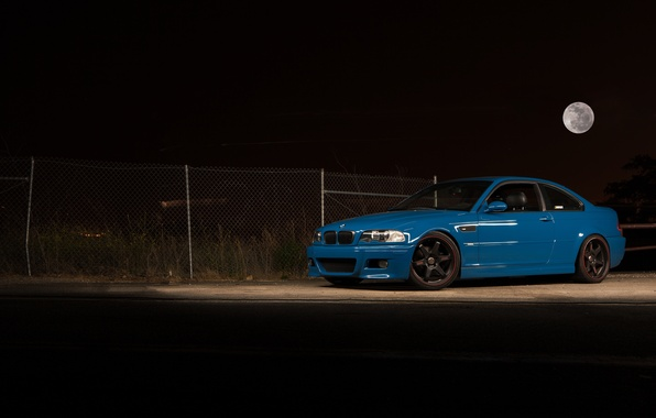Picture night, blue, the moon, bmw, BMW, blue, e46