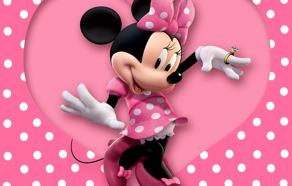 Picture heart, pink, cartoon, disney, mouse, polka dots, minnie
