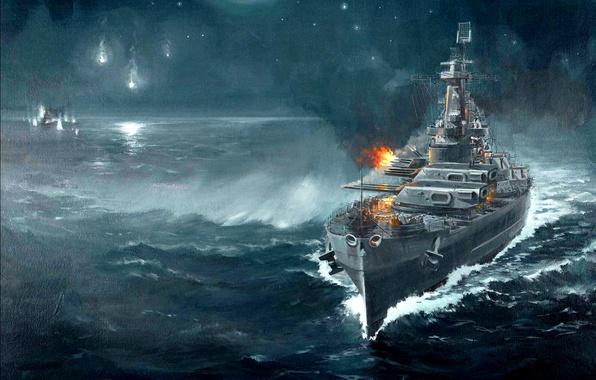 Picture night, figure, art, cruiser, Japanese, sea battle, WW2, linear, Guadalcanal, artillery duel, 14 Nov 1942, …