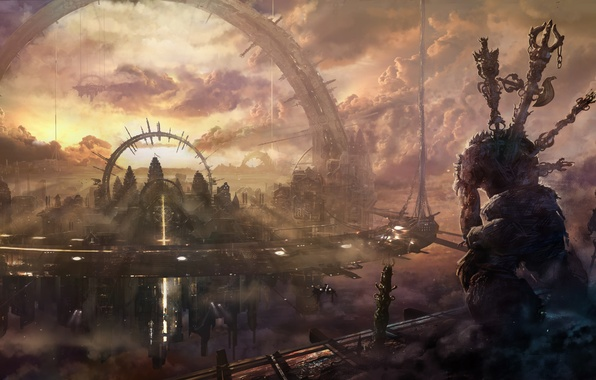 Picture the city, building, home, monster, ships, arch, heavenly
