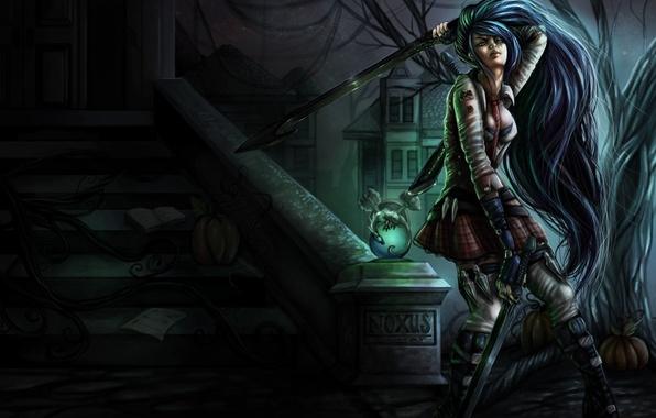 Picture girl, weapons, sword, pumpkin, steps, League of Legends, katarina, noxus academy