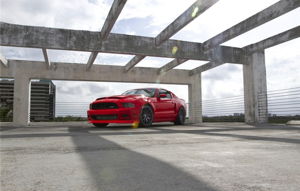 Picture the sky, clouds, red, shadow, mustang, Mustang, red, ford, Ford, gt5.0
