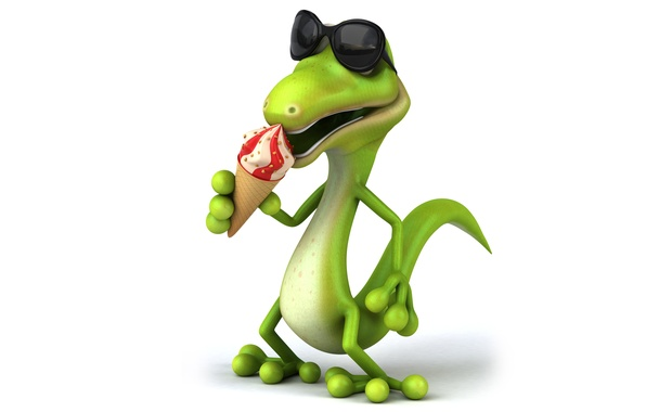 Picture character, funny, ice cream, reptile
