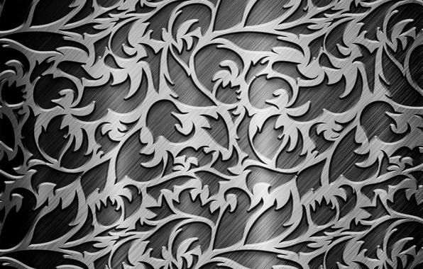 Picture metal, grey, patterns, steel, curls, texture, silver