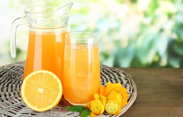 Picture flowers, table, orange, juice, fruit, decanter