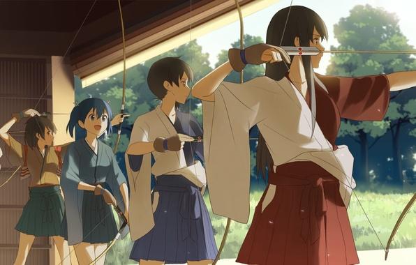 Picture weapons, girls, anime, bow, art, arrows, kantai collection, kaga, hiryuu, akagi, shoukaku, zuikaku, souryuu