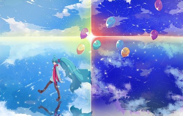 Picture the sky, water, girl, the sun, stars, clouds, balls, reflection, anime, art, vocaloid, hatsune miku
