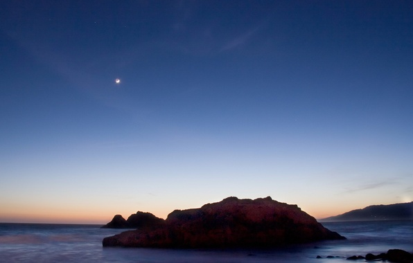 Picture sea, sunset, rock, The moon