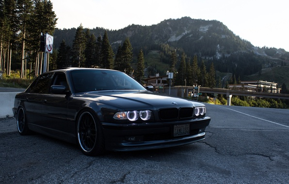 Picture road, mountains, tuning, bmw, BMW, e38, BBS, stance, 750il