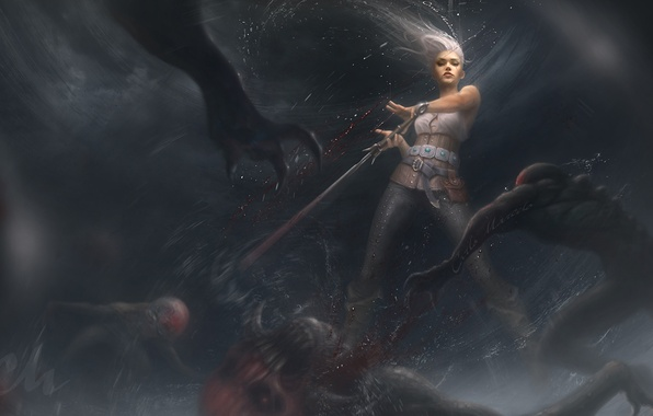 Picture girl, art, monsters, the Witcher, art, The Witcher 3: Wild Hunt, ciri