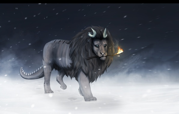Photo wallpaper cold, winter, snow, fiction, fire, animal, Leo, mane, tail, horns, stick