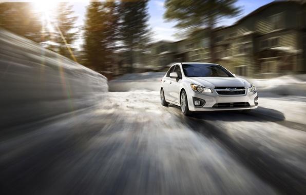 Picture winter, the sun, speed, Subaru, Impreza