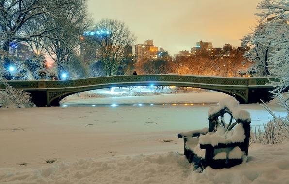 Picture winter, snow, trees, bench, night, bridge, lights, pond, Park, home, New York, USA
