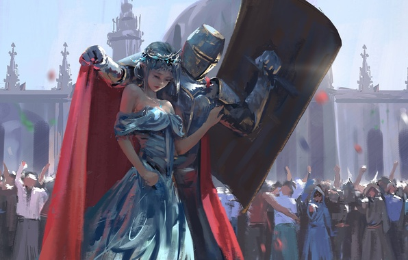 Wallpaper Girl Elf The Crowd Armor Crown Art Shield Knight Wlop Images For Desktop Section