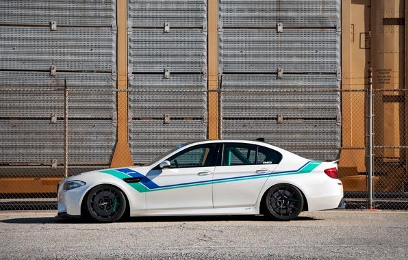 Picture white, wall, bmw, BMW, profile, white, wheels, drives, bbs, f10, BBC