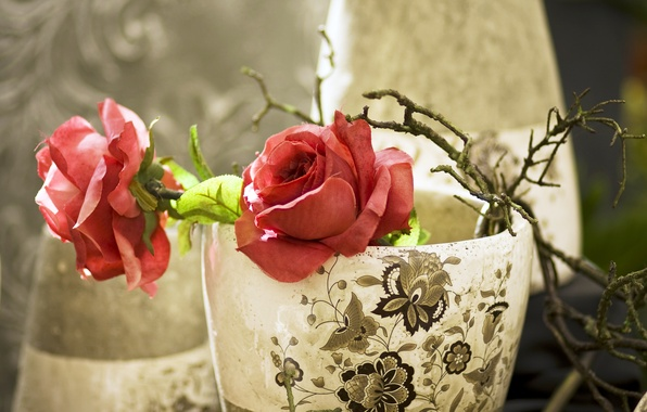 Picture pattern, roses, branch, red, fabric, vase, artificial flowers