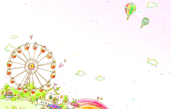 Picture clouds, balloons, rainbow, wheel, attraction, houses, baby Wallpaper