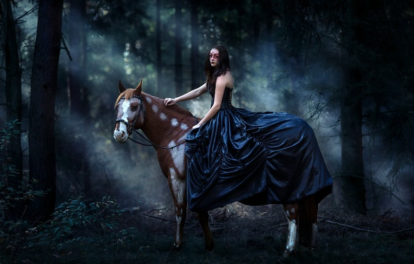 Picture forest, girl, horse, horse, dress, mask