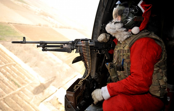 Picture flight, weapons, soldiers, helicopter, machine gun, Santa Claus, tape cartridges