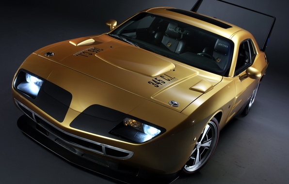 Picture lights, Dodge, Challenger, muscle car, Golden, the front, Muscle car, daytona, wing, hpp