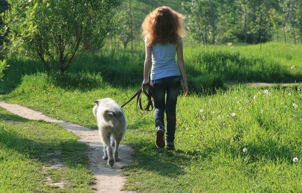 Picture girl, smile, mood, dog, walk, friends, go