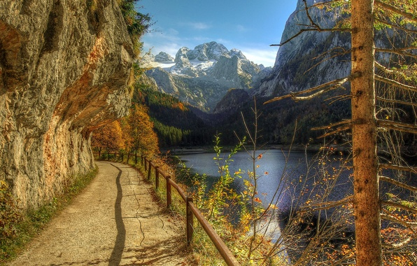 Picture autumn, trees, mountains, river, open, hills, the fence, handrails