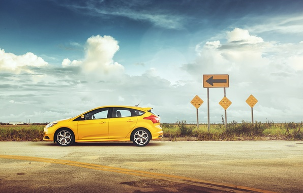 Picture yellow, Ford, focus, arrow, Focus, Ford, Sunny